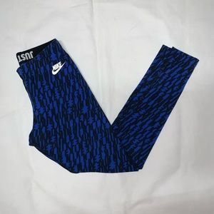 Nike Spell Out Logo Leggings Cotton Blend S Blue